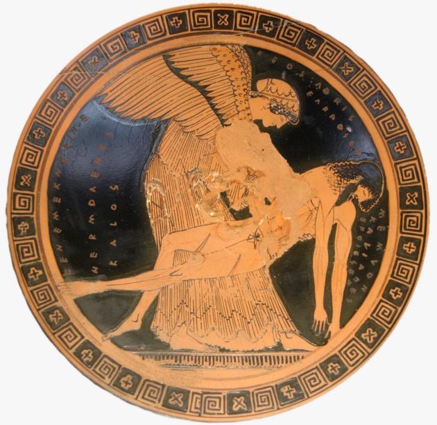 """الهه """"ائوس""""، پیکر بیجان پسرش """"مِمنون"""" را حمل میکند."""